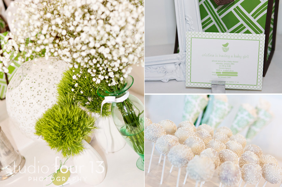 green and white baby shower miami lifestyle photographer studio